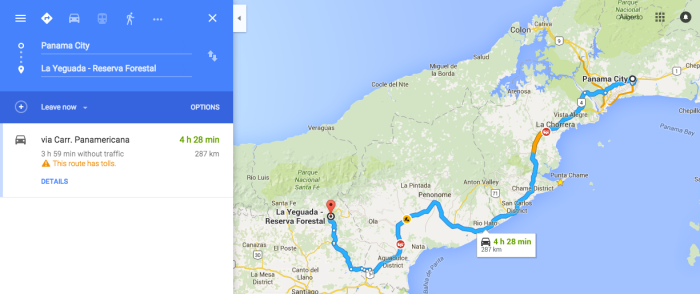 Directions to La Yeguada